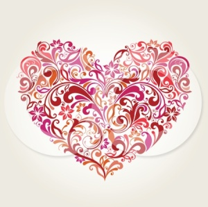 212023-Royalty-Free-RF-Clipart-Illustration-Of-A-Red-And-Orange-Floral-Heart-Design-On-Beige