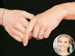 ScarJo's unique Art Deco Engagement Ring with 3 Large Diamons in the middle