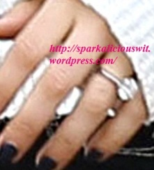 Close Up of Mila Kunis' Oval Diamond Classic Setting Engagement Ring , engaged, ashton kutcher