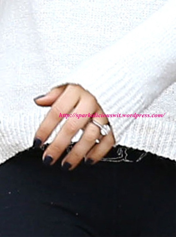 Mila Kunis Classic Engagement Ring Close Up , engaged , ashton kutcher